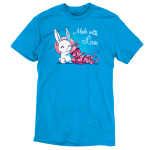 Made With Love t-shirt TeeTurtle cobalt blue t-shirt featuring a white bunny holding a big pink sack over its shoulder with tons of pink hearts flowing out of it