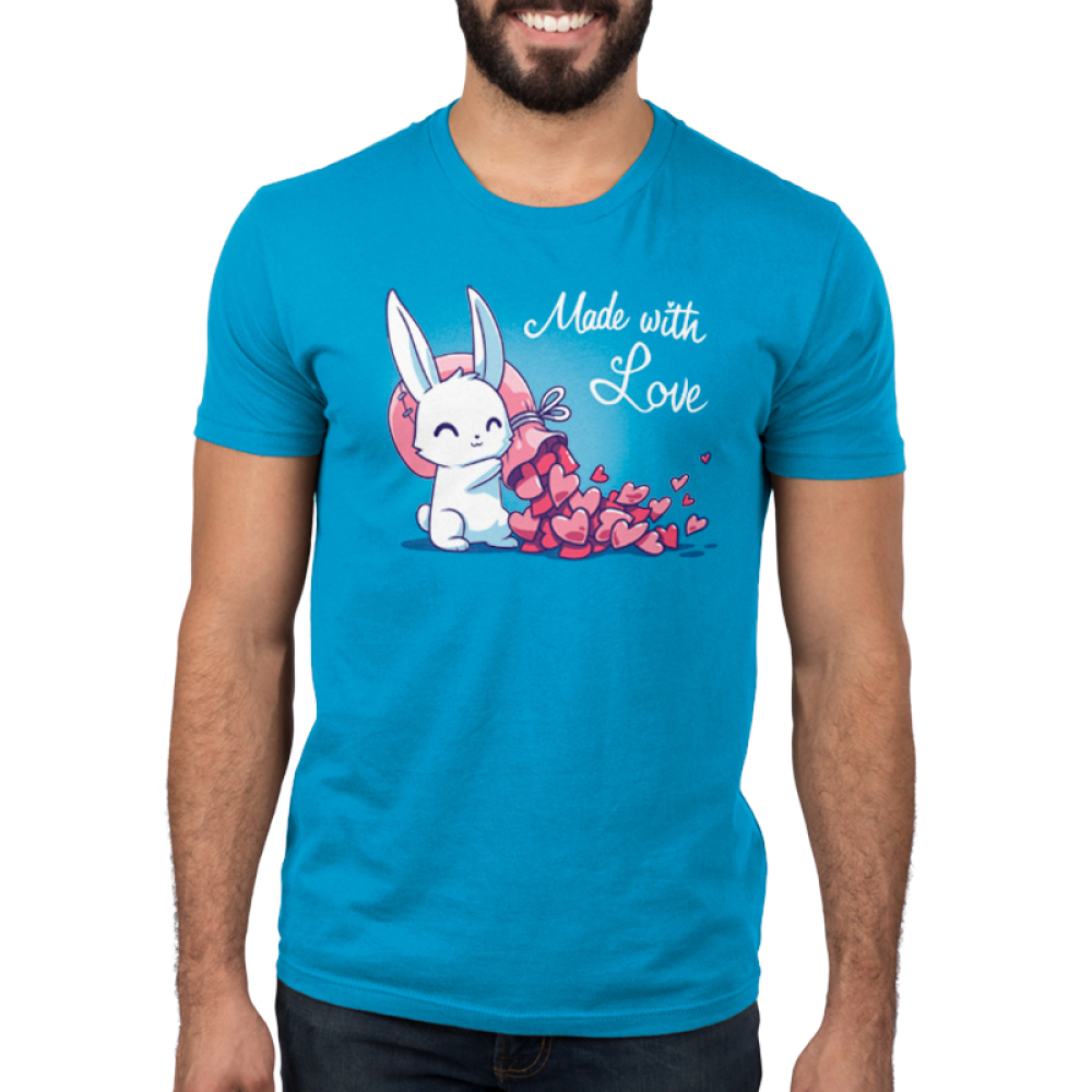 Made With Love Men's t-shirt model TeeTurtle cobalt blue t-shirt featuring a white bunny holding a big pink sack over its shoulder with tons of pink hearts flowing out of it
