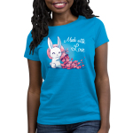 Made With Love Women's t-shirt model TeeTurtle cobalt blue t-shirt featuring a white bunny holding a big pink sack over its shoulder with tons of pink hearts flowing out of it