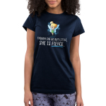 She is Fierce Junior's t-shirt model officially licensed navy Disney t-shirt featuring Tinker Bell looking confident with her hands on her hips and sparkles behind her wings