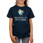 She is Fierce Kid's t-shirt model officially licensed navy Disney t-shirt featuring Tinker Bell looking confident with her hands on her hips and sparkles behind her wings