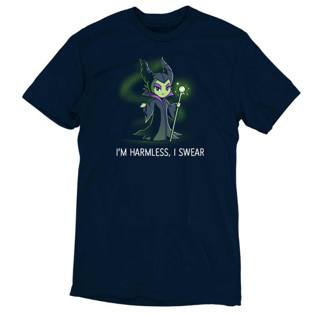 I'm Harmless, I Swear t-shirt officially licensed navy Disney t-shirt featuring Maleficent from Sleeping Beauty smiling dangerously, holding a green staff with a green crystal on top, and with green magical, sparkling mist in the background.