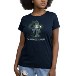 I'm Harmless, I Swear Women's t-shirt model officially licensed navy Disney t-shirt featuring Maleficent from Sleeping Beauty smiling dangerously, holding a green staff with a green crystal on top, and with green magical, sparkling mist in the background.