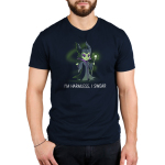 I'm Harmless, I Swear Men's t-shirt model officially licensed navy Disney t-shirt featuring Maleficent from Sleeping Beauty smiling dangerously, holding a green staff with a green crystal on top, and with green magical, sparkling mist in the background.