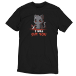 Stabby the Kitty t-shirt TeeTurtle black t-shirt featuring a cut gray cat with big red eyes with a little smile on his face while holding a shiny knife