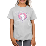 I Just Want to Hang Out With My Cat Kid's t-shirt model TeeTurtle silver t-shirt featuring a white cat with light gray spots smiling in a pink heart