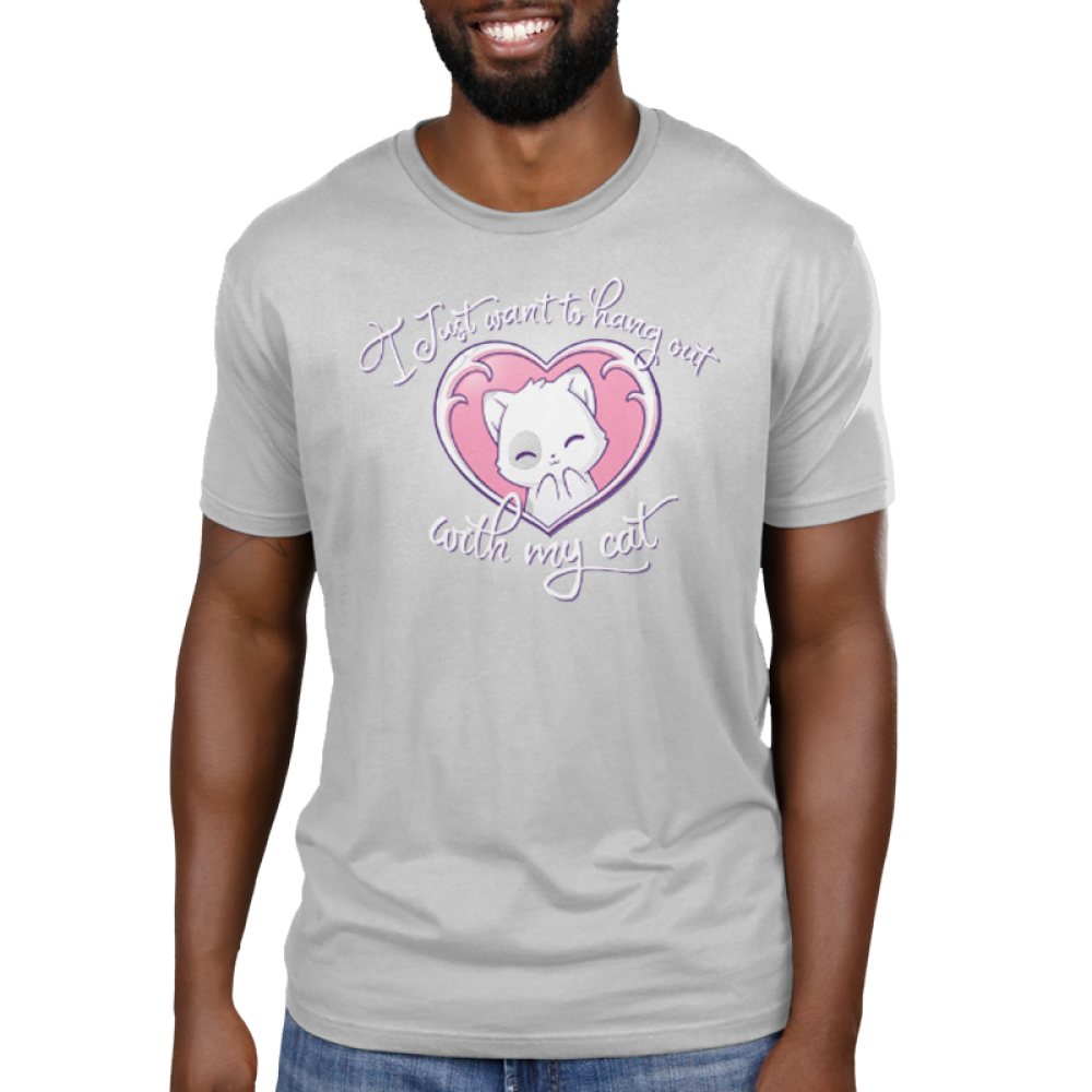 I Just Want to Hang Out With My Cat Men's t-shirt model TeeTurtle silver t-shirt featuring a white cat with light gray spots smiling in a pink heart
