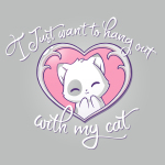 I Just Want to Hang Out With My Cat t-shirt TeeTurtle silver t-shirt featuring a white cat with light gray spots smiling in a pink heart