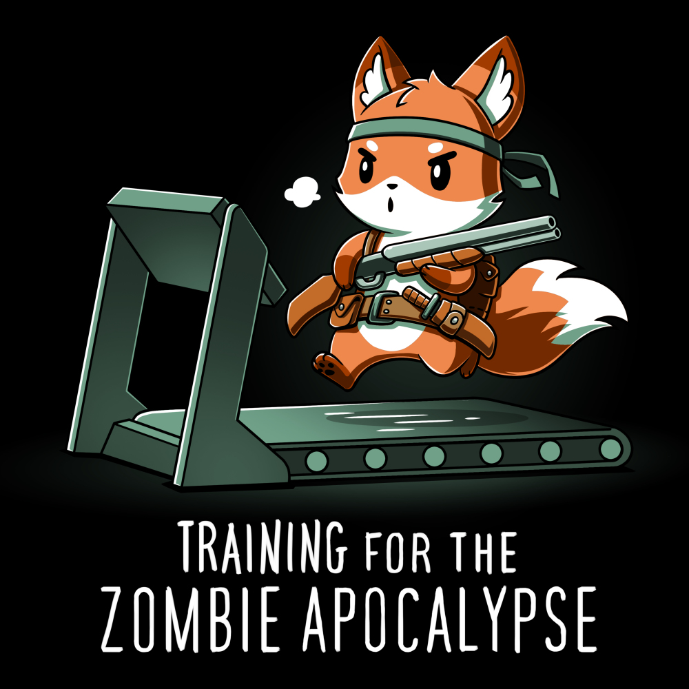 Training for the Zombie Apocalypse TeeTurtle black t-shirt featuring an orange fox running on a treadmill while wearing a bandana and utility belt, and holding a shotgun.