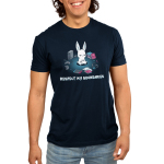 Respect My BoundariesMen's t-shirt model TeeTurtle navy t-shirt featuring a calm white bunny sitting in the middle of a circle formed out of books, video game consoles, pencils, and a headset.