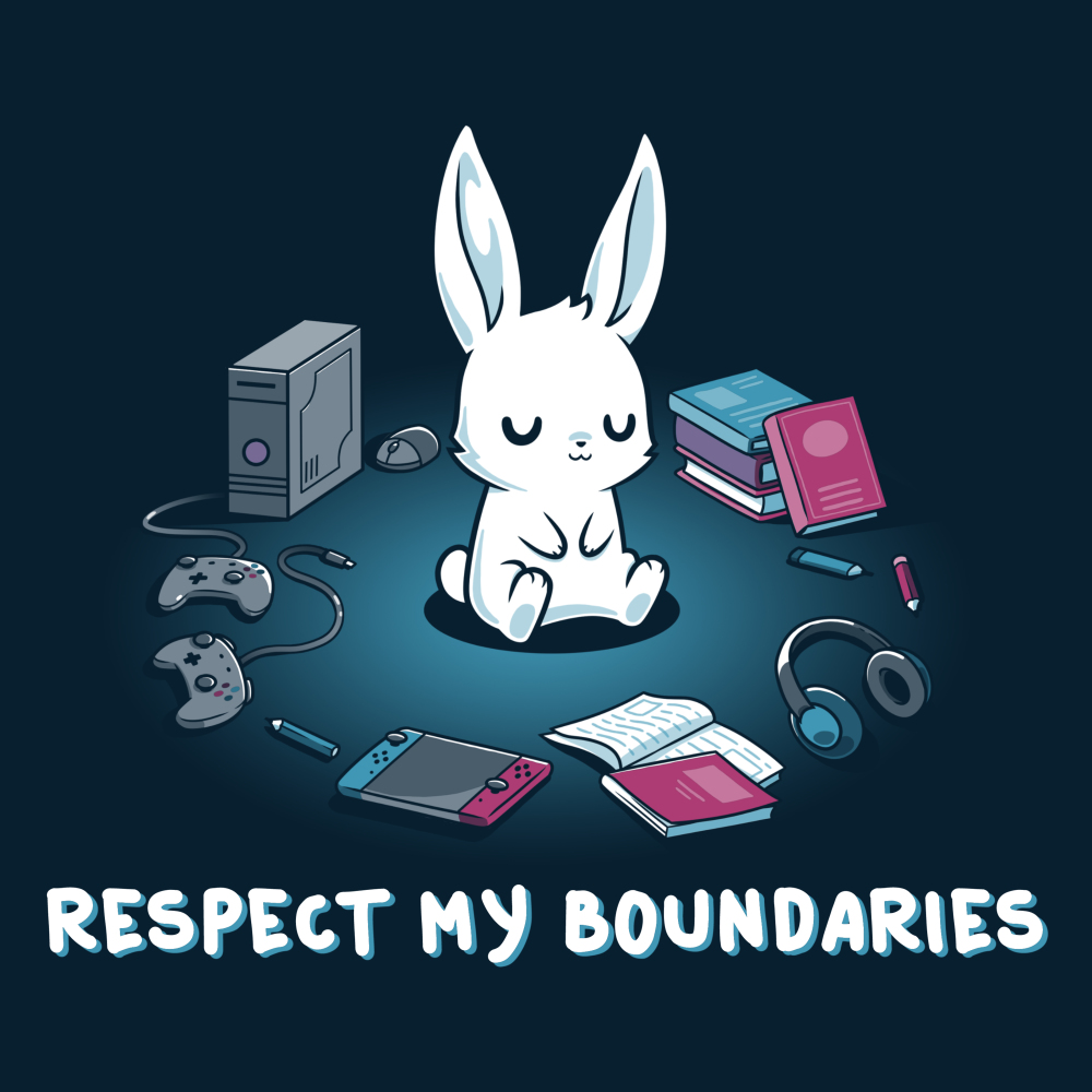 Respect My Boundaries TeeTurtle navy t-shirt featuring a calm white bunny sitting in the middle of a circle formed out of books, video game consoles, pencils, and a headset.