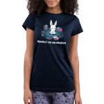 Respect My BoundariesJunior's t-shirt model TeeTurtle navy t-shirt featuring a calm white bunny sitting in the middle of a circle formed out of books, video game consoles, pencils, and a headset.