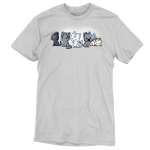Elemental Kitties t-shirt TeeTurtle silver t-shirt featuring five cats, one dark gray one with a fire symbol over its eye, one charcoal cats, one white cat with a blue arrow going down its forehead, and a calico cat laying down and sleeping