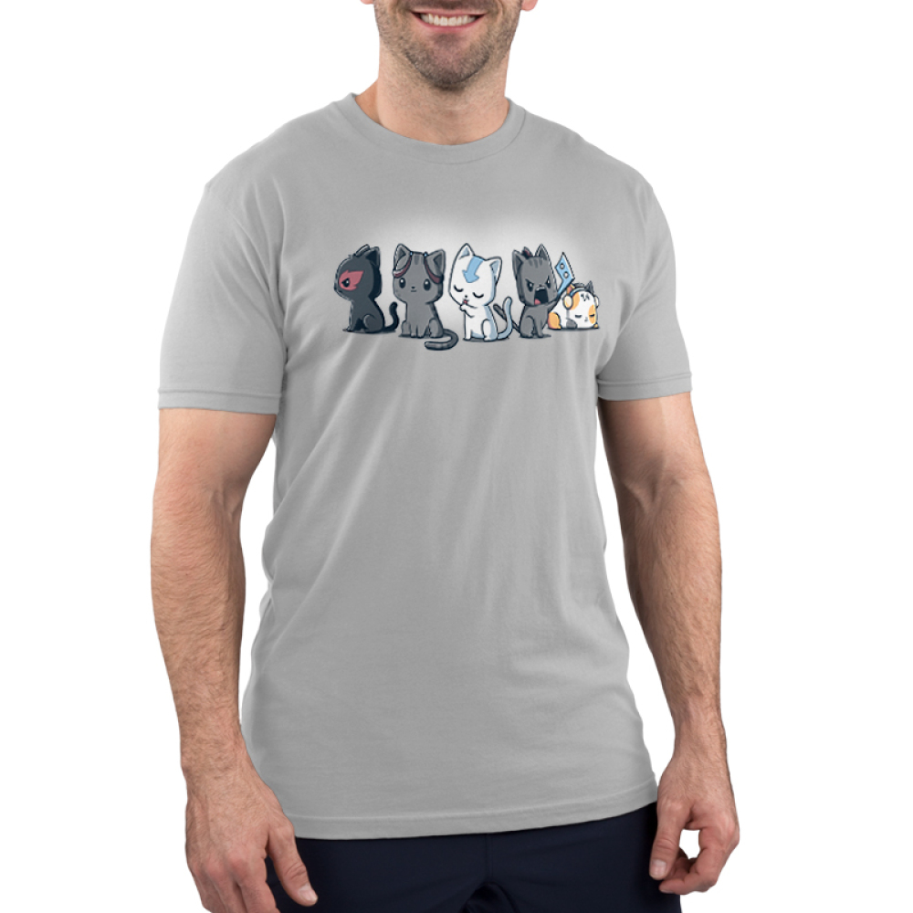 Elemental Kitties Men's t-shirt model TeeTurtle silver t-shirt featuring five cats, one dark gray one with a fire symbol over its eye, one charcoal cats, one white cat with a blue arrow going down its forehead, and a calico cat laying down and sleeping