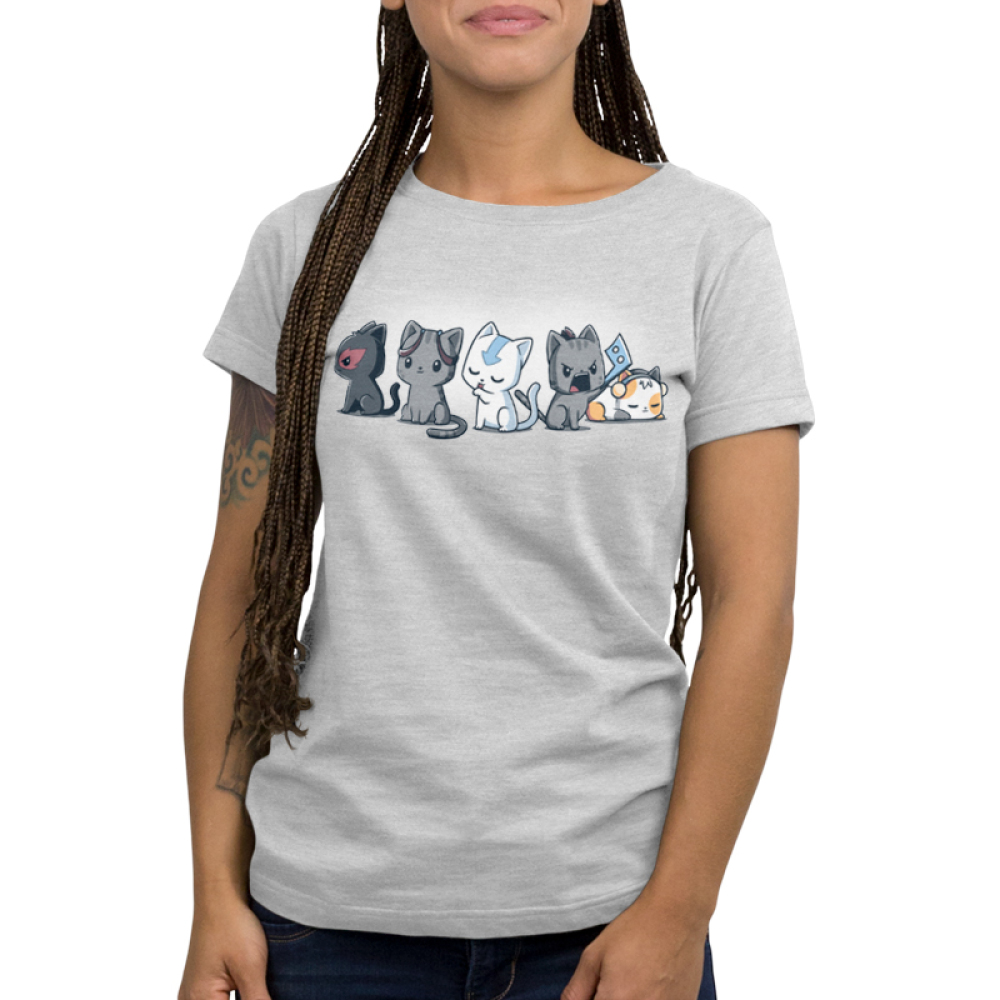 Elemental Kitties Women's t-shirt model TeeTurtle silver t-shirt featuring five cats, one dark gray one with a fire symbol over its eye, one charcoal cats, one white cat with a blue arrow going down its forehead, and a calico cat laying down and sleeping