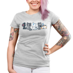 Elemental Kitties Junior's t-shirt model TeeTurtle silver t-shirt featuring five cats, one dark gray one with a fire symbol over its eye, one charcoal cats, one white cat with a blue arrow going down its forehead, and a calico cat laying down and sleeping