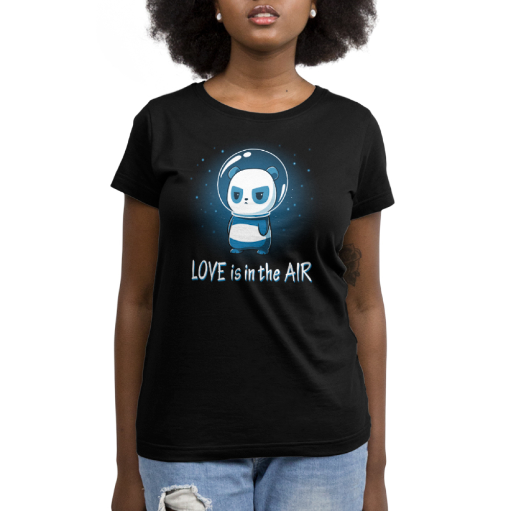 Love is in the Air Women's t-shirt model TeeTurtle black t-shirt featuring a panda in space with stars in the background with a glass astronaut helmet on looking upset