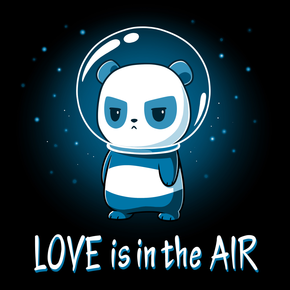 Love is in the Air t-shirt TeeTurtle black t-shirt featuring a panda in space with stars in the background with a glass astronaut helmet on looking upset