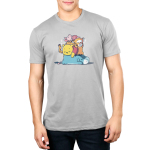 Hard at Work Men's t-shirt model officially licensed silver Disney t-shirt featuring Eeyore laying on the floor sleeping with Pooh, Tiger, and Piglet all also sleeping piled on top of him