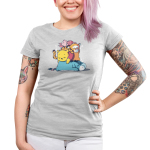 Hard at Work Junior's t-shirt model officially licensed silver Disney t-shirt featuring Eeyore laying on the floor sleeping with Pooh, Tiger, and Piglet all also sleeping piled on top of him