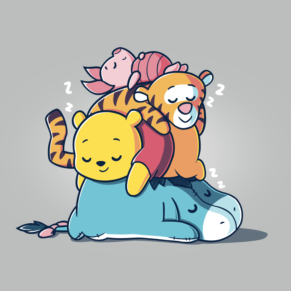 Hard at Work t-shirt officially licensed silver Disney t-shirt featuring Eeyore laying on the floor sleeping with Pooh, Tiger, and Piglet all also sleeping piled on top of him