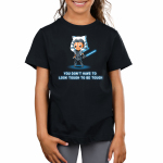 You Don't Have To Look Tough To Be Tough Kid's t-shirt model officially licensed black Star Wars t-shirt featuring Ahsoka Tano standing with both of her blue lightsabers in hand