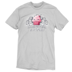 Be a Cupcake t-shirt TeeTurtle silver t-shirt featuring a pink smiling cupcake with a bunch of grayed out angry looking muffins behind him