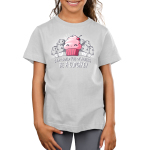 Be a Cupcake Kid's t-shirt model TeeTurtle silver t-shirt featuring a pink smiling cupcake with a bunch of grayed out angry looking muffins behind him