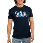 Unicorn Scientists Men's t-shirt model TeeTurtle navy t-shirt featuring three white unicorns with blue manes in white lab coatssurrounded by lab equipment, with the lefthandunicorn holding a smoking beaker, the middle unicornpouring a test tubeinto a beaker, and the righthand unicorn inspecting a pink cupcake under a microscope.