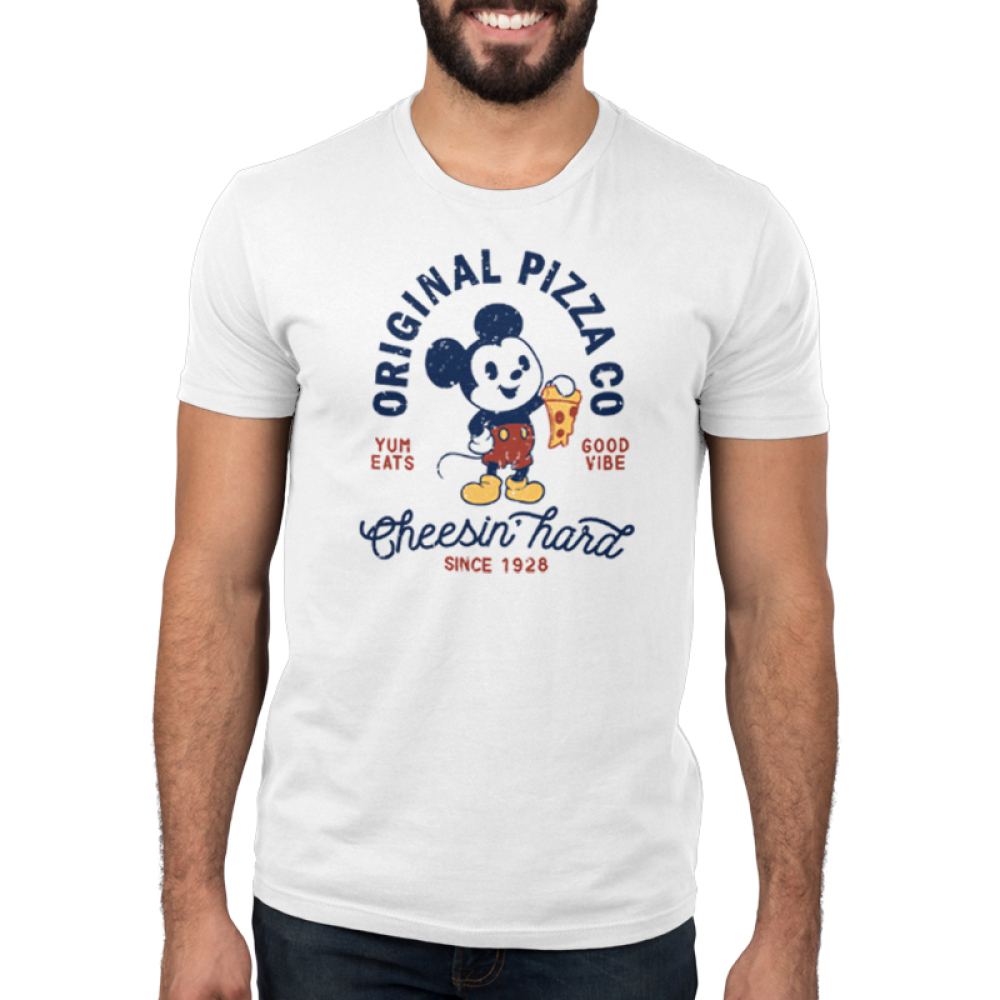 Mickey's Pizza Company Men's t-shirt model officially licensed white Disney t-shirt featuring Mickey Mouse holding up a slice of pizza