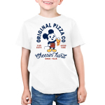 Mickey's Pizza Company Kid's t-shirt model officially licensed white Disney t-shirt featuring Mickey Mouse holding up a slice of pizza