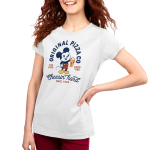 Mickey's Pizza Company Women's t-shirt model officially licensed white Disney t-shirt featuring Mickey Mouse holding up a slice of pizza
