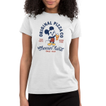 Mickey's Pizza Company Junior's t-shirt model officially licensed white Disney t-shirt featuring Mickey Mouse holding up a slice of pizza