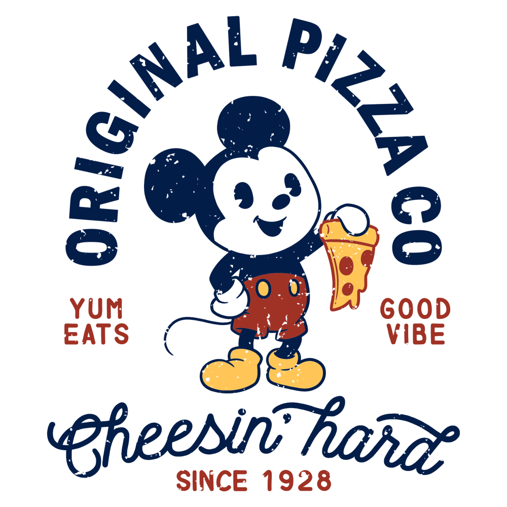 Mickey's Pizza Company t-shirt officially licensed white Disney t-shirt featuring Mickey Mouse holding up a slice of pizza