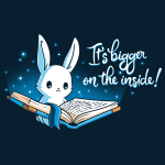 Books are Bigger on the Inside t-shirt TeeTurtle navy t-shirt featuring a bunny holding open a big blue book with a navy sky behind him and twinkling lights
