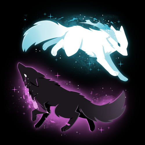 Celestial Spirits black t-shirt featuring a white wolf with blue sparkles on the top running to the righthand side and a black wolf with purple sparkles on the bottom running to the lefthand side in such a way that they form a circle.