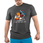 I Might Need These Later (Dice) Men's t-shirt model TeeTurtle charcoal t-shirt featuring a fox carrying a whole bunch of gaming dice