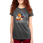 I Might Need These Later (Dice) Women's t-shirt model TeeTurtle charcoal t-shirt featuring a fox carrying a whole bunch of gaming dice