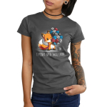 I Might Need These Later (Dice) Junior's t-shirt model TeeTurtle charcoal t-shirt featuring a fox carrying a whole bunch of gaming dice