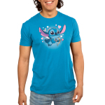 Cupid Stitch Men's t-shirt model officially licensed cobalt blue Disney t-shirt featuring stitch with white wings flying with a cupids arrow and hearts around him