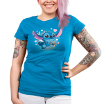 Cupid Stitch Junior's t-shirt model officially licensed cobalt blue Disney t-shirt featuring stitch with white wings flying with a cupids arrow and hearts around him
