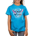 Cupid Stitch Kid's t-shirt model officially licensed cobalt blue Disney t-shirt featuring stitch with white wings flying with a cupids arrow and hearts around him