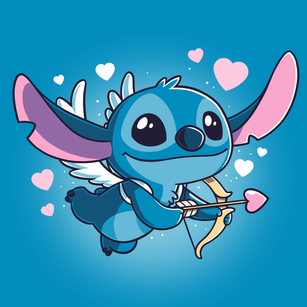 Cupid Stitch t-shirt officially licensed cobalt blue Disney t-shirt featuring stitch with white wings flying with a cupids arrow and hearts around him