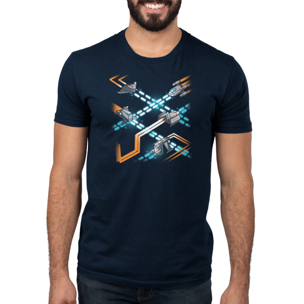 Space Ships Men's t-shirt model TeeTurtle navy t-shirt featuringseveral kinds of space shipszooming around each other with orange engine trails while firing blue weapons.