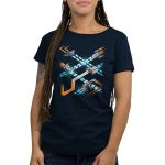 Space Ships Women's t-shirt model TeeTurtle navy t-shirt featuringseveral kinds of space shipszooming around each other with orange engine trails while firing blue weapons.