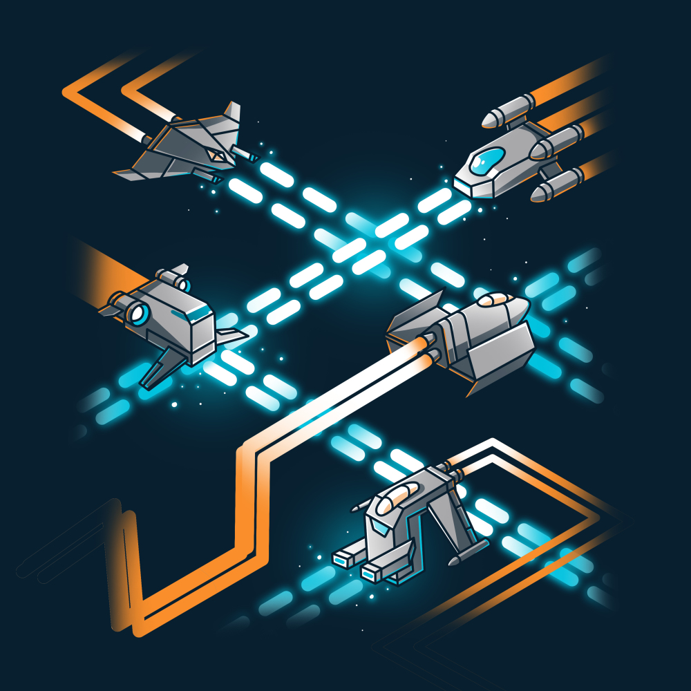 Space Ships navy t-shirt featuring several kinds of space shipszooming around each other with orange engine trails while firing blue weapons.