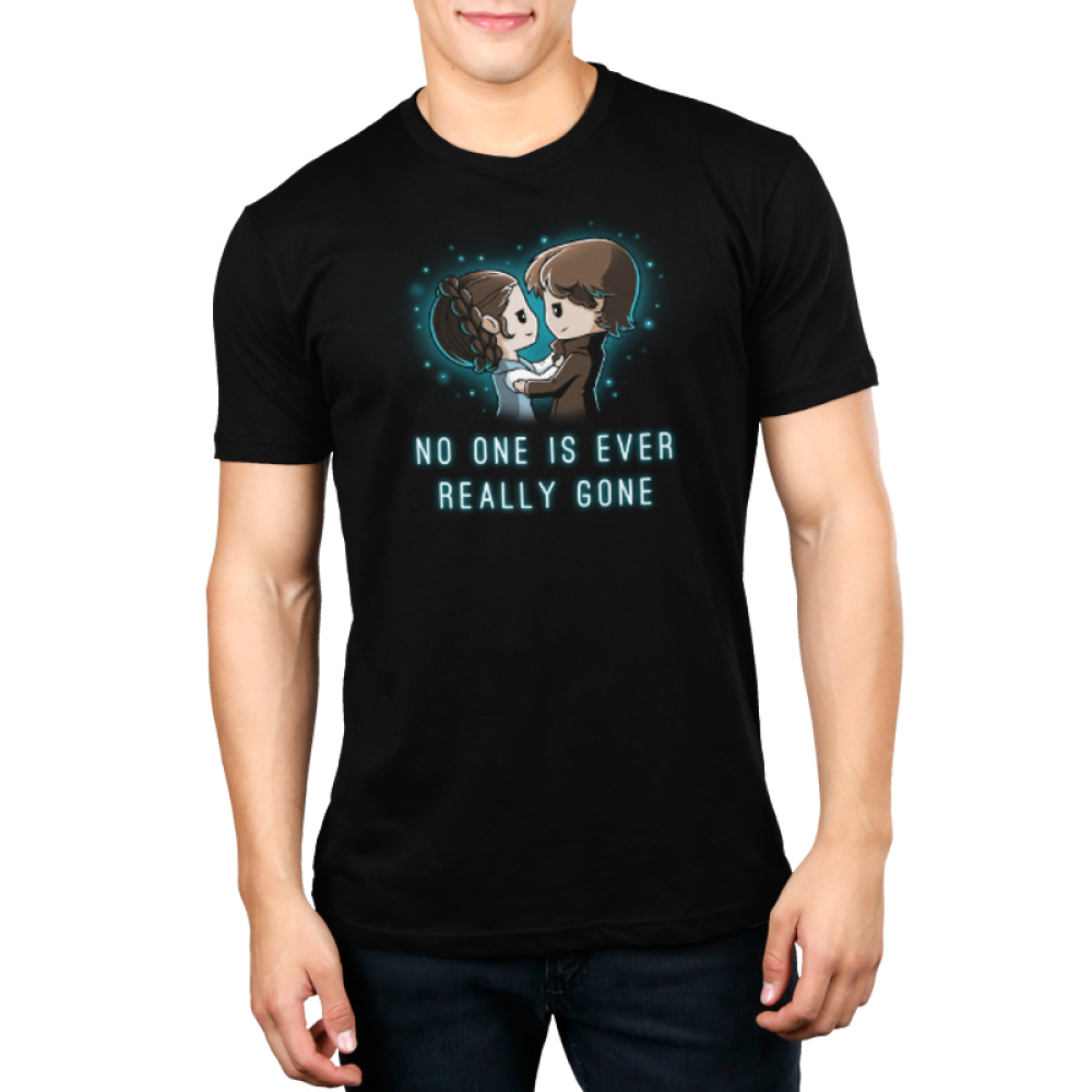 No One is Ever Really Gone Men's t-shirt model officially licensed Star Wars black t-shirt featuring Princess Leia in the arms of Han Solo with a blue haze behind them in the shape of a heart