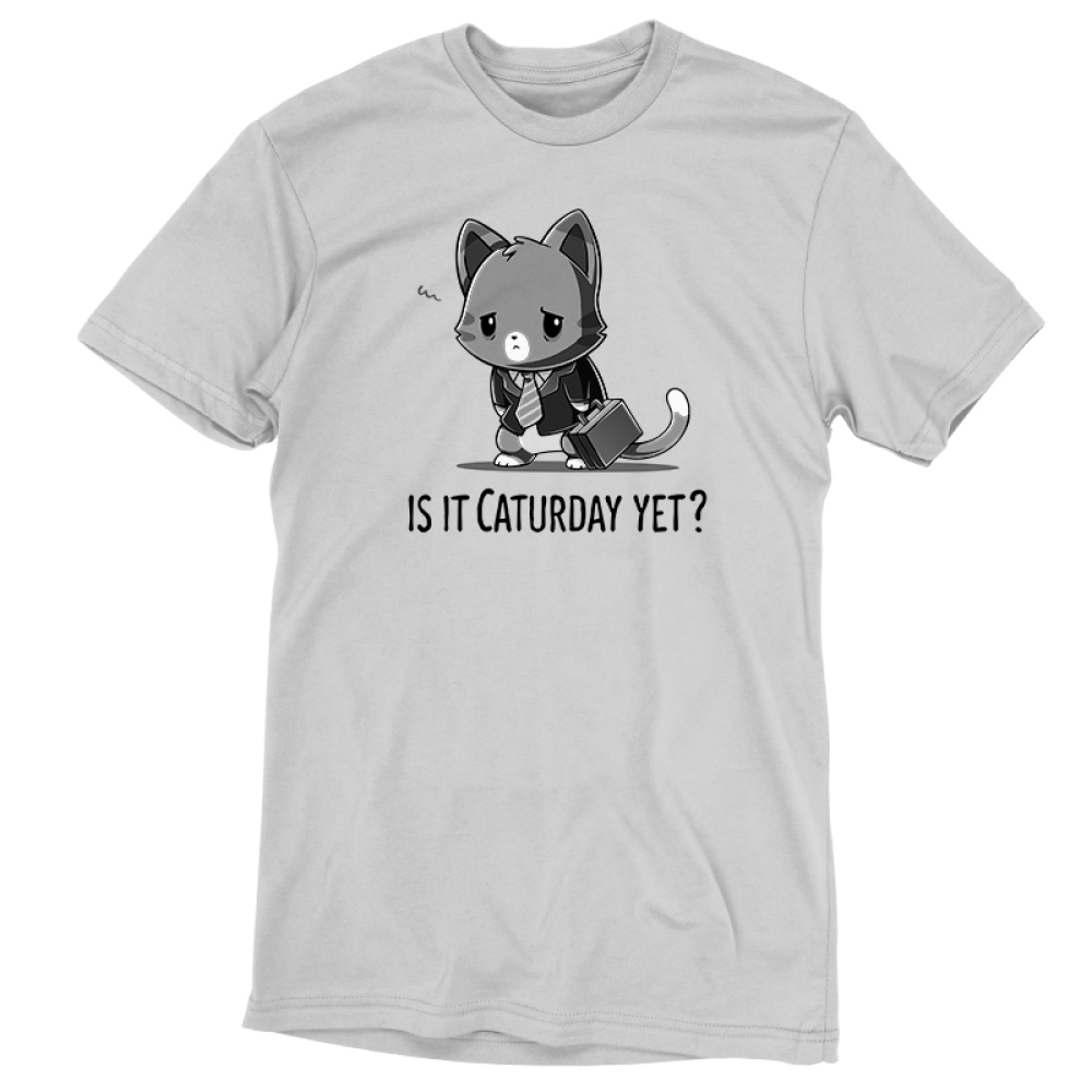Is it Caturday Yet? silver t-shirt featuring a tired gray tabby cat walking on two legs wearing a light gray collared shirt, gray suit jacket, and gray striped tie while carrying a dark gray briefcasein its left paw.