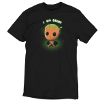 Pouting Groot t-shirt officially licensed black Marvel t-shirt featuring little Groot sitting down looking up looking sad with his eyes so big