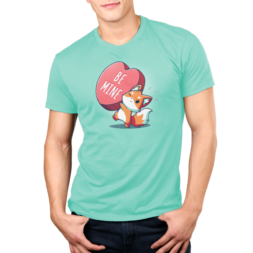 Be Mine Men's t-shirt model TeeTurtle chill blue t-shirt featuring a fox holding a huge heart that says Be Mine